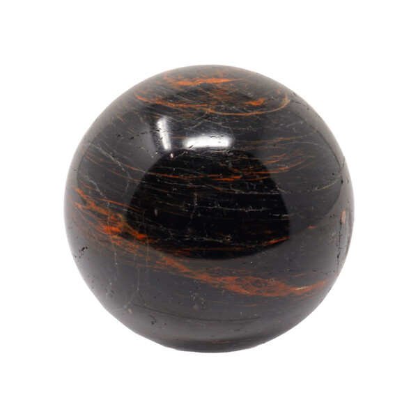 Closeup photo of Black Tourmaline Sphere On Ring Stand