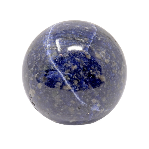 Closeup photo of Sodalite Sphere On Ring Stand