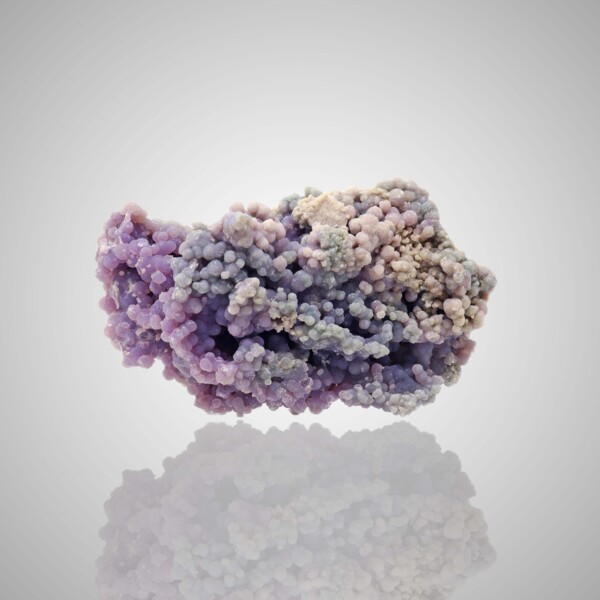 Closeup photo of Purple Grape Chalcedony Cluster Small With Blue And Lighter Clusters On The Bottom