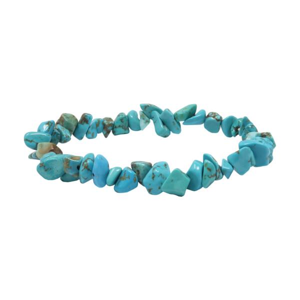 Closeup photo of Howlite Turquoise Chip Bracelet