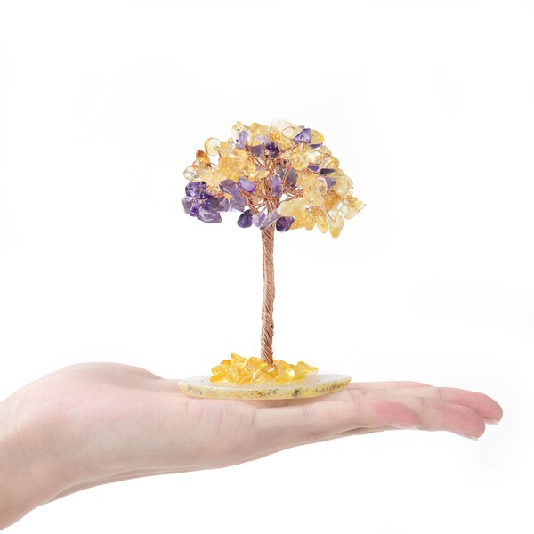 Closeup photo of Amethyst & Citrine Beaded Tree -Extra Small On Agate Slice Base