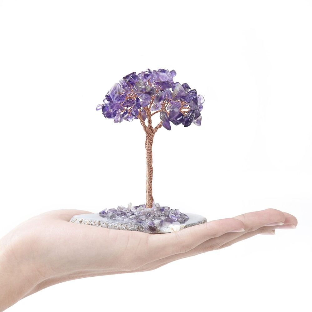 Amethyst Beaded Tree -Baby On Agate Slice Base