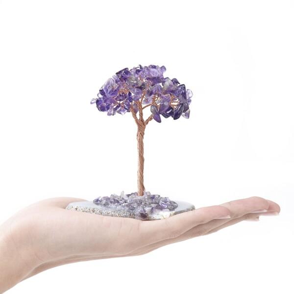 Closeup photo of Amethyst Beaded Tree -Baby On Agate Slice Base