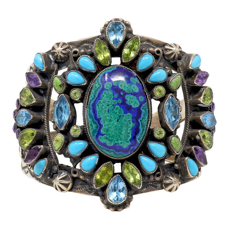 Leo Feeney Botryoidal Malachite-Azurite Cuff With Sleeping Beauty Turquoise, Peridot, Blue Topaz, Green Turquoise & Amethyst