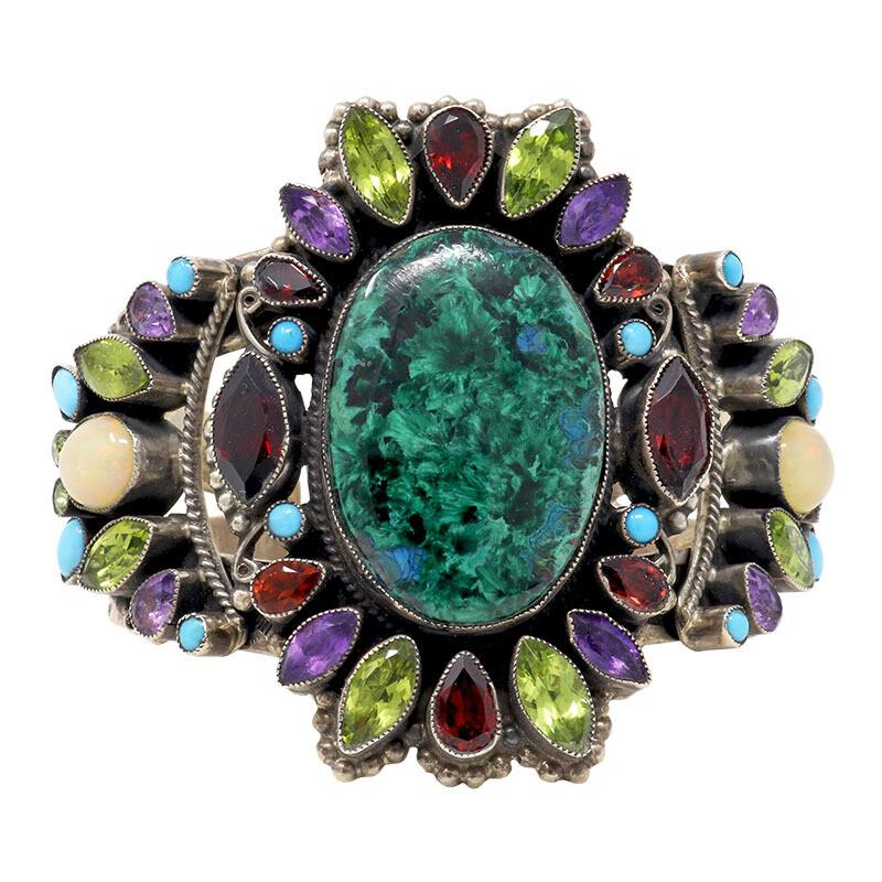 Leo Feeney Chatoyant Malachite & Chrysocolla Cuff With Garnet, Ethiopian Opal, Peridot, Sleeping Beauty Turquoise & Amethyst