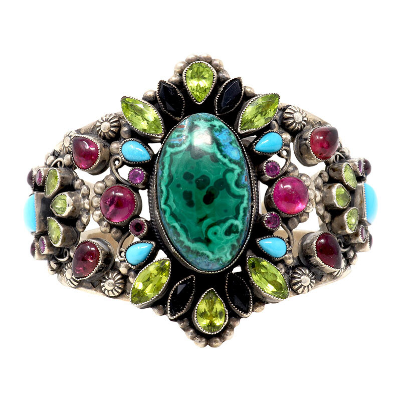 Leo Feeney Malachite & Chrysocolla Cuff With Peridot, Pink Tourmaline, Sleeping Beauty Turquoise, Garnet & Black Onyx
