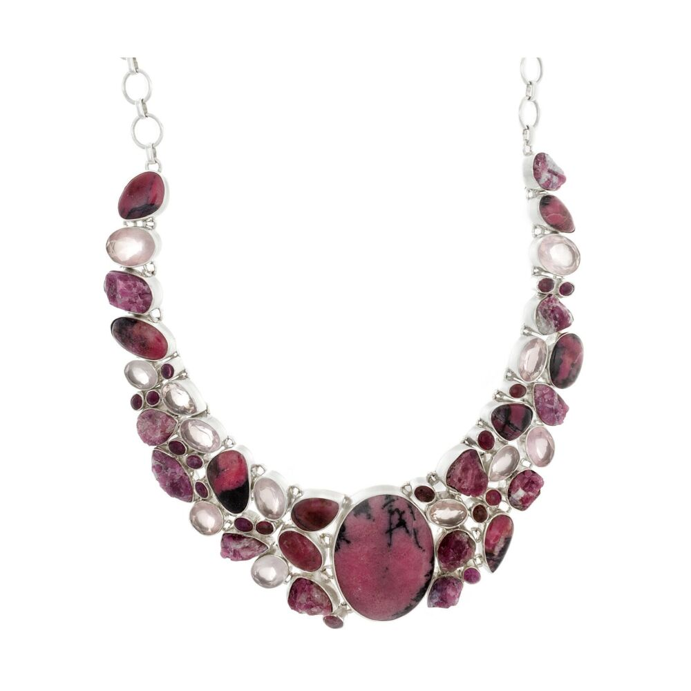 Rhodonite Necklace Collar With Faceted Rose Quartz & Natural Pink Tourmaline