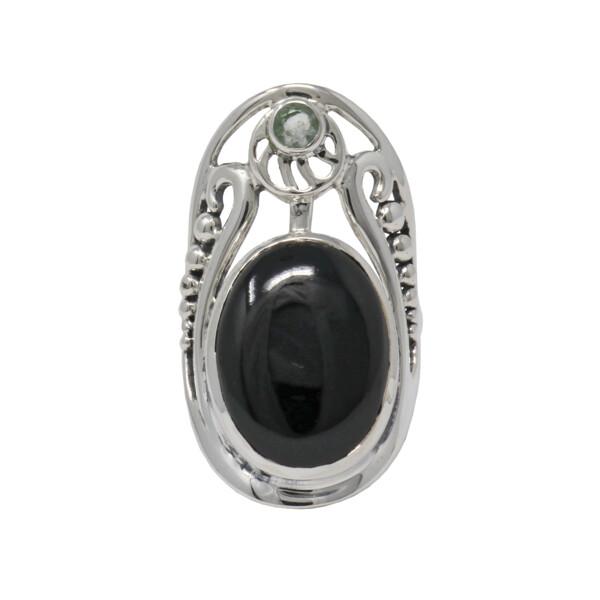 Closeup photo of Black Onyx Ring - Oval With Round Quartz Sz9