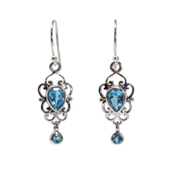 Closeup photo of Blue Topaz Dangle Earrings