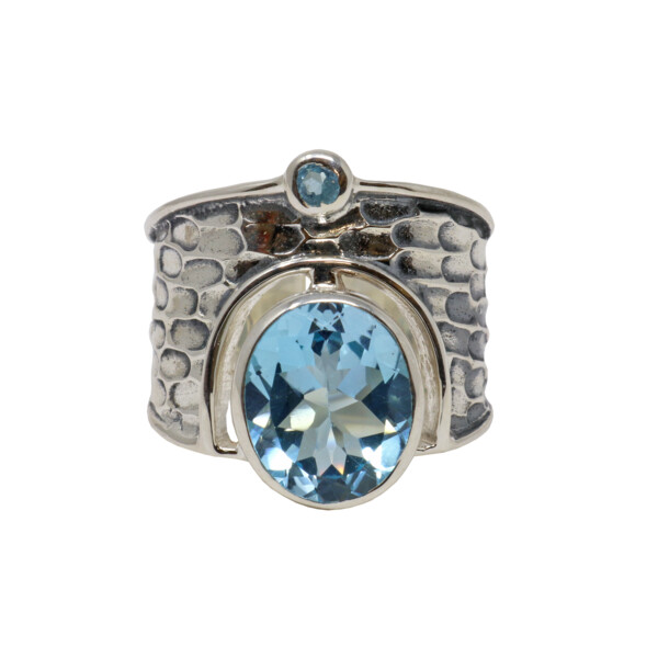 Closeup photo of Blue Topaz Ring - Oval & Round Wide Band Sz9