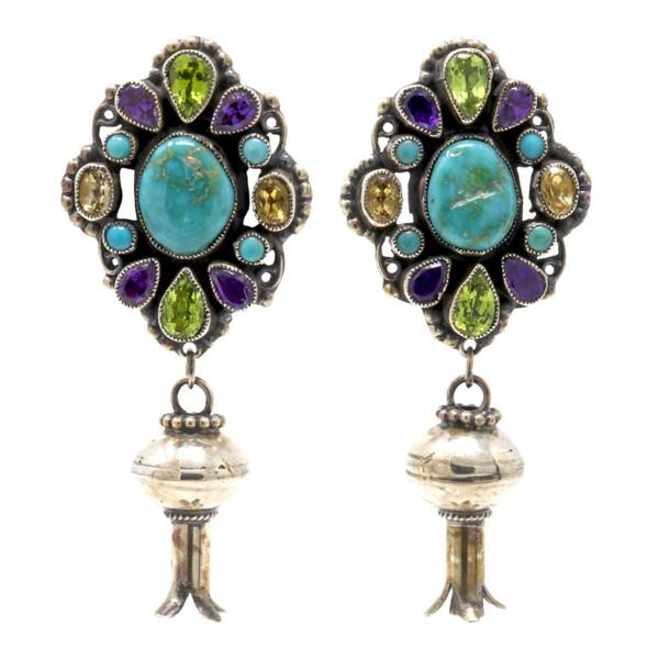 Closeup photo of Leo Feeney Royston Turquoise Earrings With Squash Blossom, Amethyst, Peridot & Citrine
