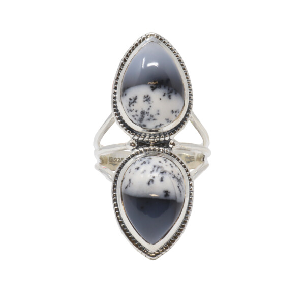 Closeup photo of Dendritic Opal Ring - 2 Pears With Braid Accent Sz7