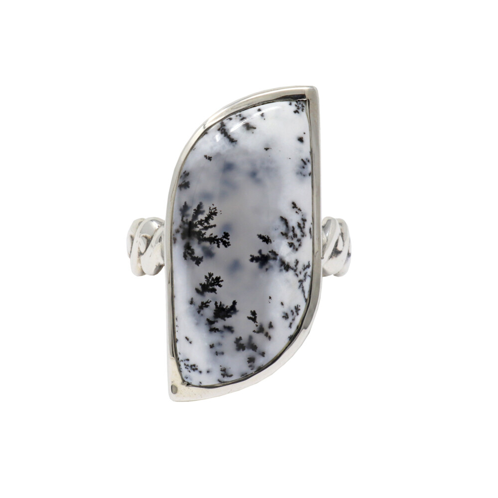 Dendritic Opal Ring -  With Textured Band Sz7
