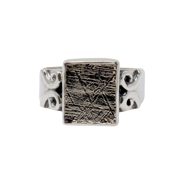 Closeup photo of Muonionalusta Meteorite Ring - Square With Swirls On Band Size 7