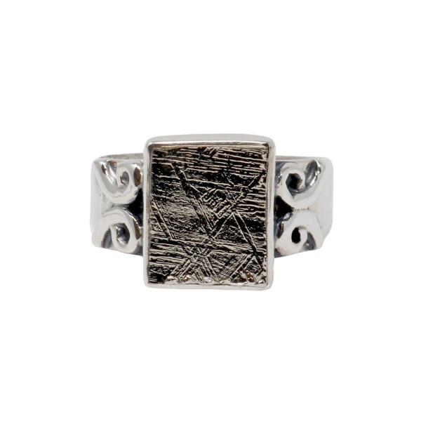 Closeup photo of Muonionalusta Meteorite Ring - Square With Swirls On Band Size 8