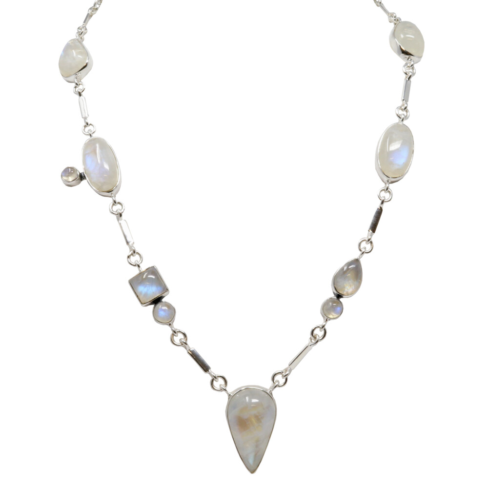 Rainbow Moonstone Necklace - Geometric Cabochons With Silver Bar Links