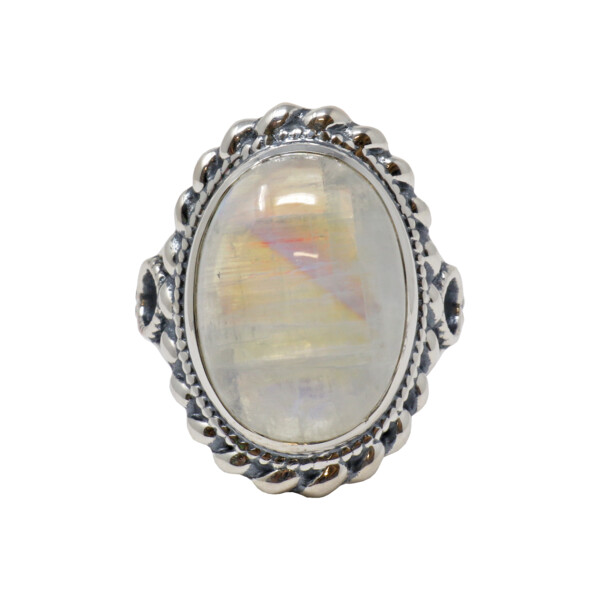 Closeup photo of Rainbow Moonstone Ring - Oval In Rope Design Band Size 7