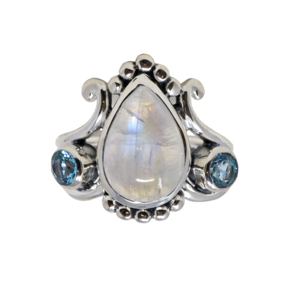 Closeup photo of Rainbow Moonstone Ring - Pear With Blue Topaz Rounds Size 8