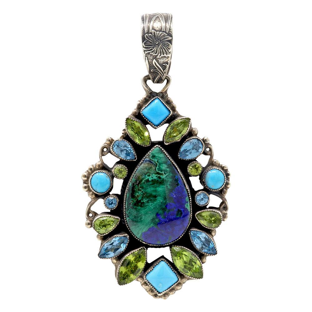 Leo Feeney Chatoyant Malachite-Azurite Pendant With Sleeping Beauty Turquoise, Peridot & Blue Topaz