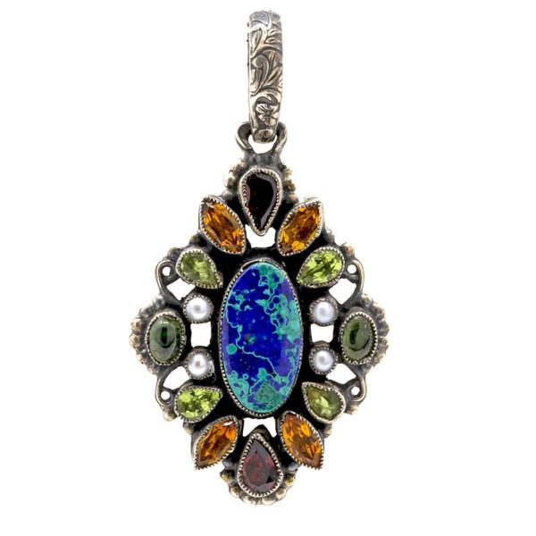 Closeup photo of Leo Feeney Azurite-malachite Pendant With Garnet, Citrine, Peridot, Pearl & Green Tourmaline