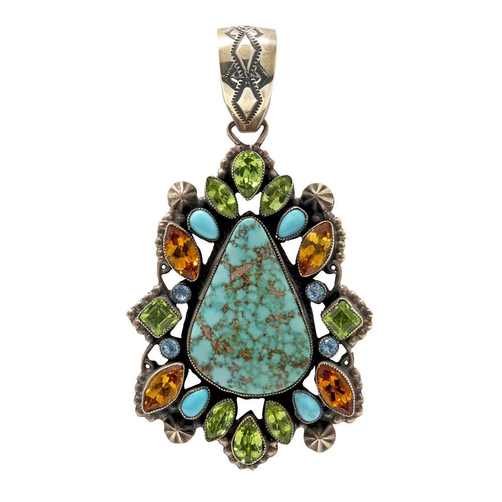 Leo Feeney Royston Turquoise Pendant -Droplet With Citrine, Peridot & Blue Topaz
