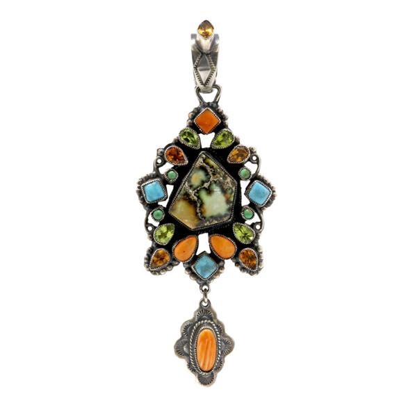 Closeup photo of Leo Feeney Earthy Variscite Pendant With Turquoise, Spiny Oyster, Peridot & Citrine