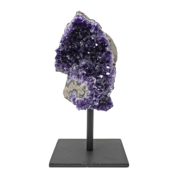 Closeup photo of Amethyst Crystal Cluster Plaque On A Post Stand - Slate Gray Band