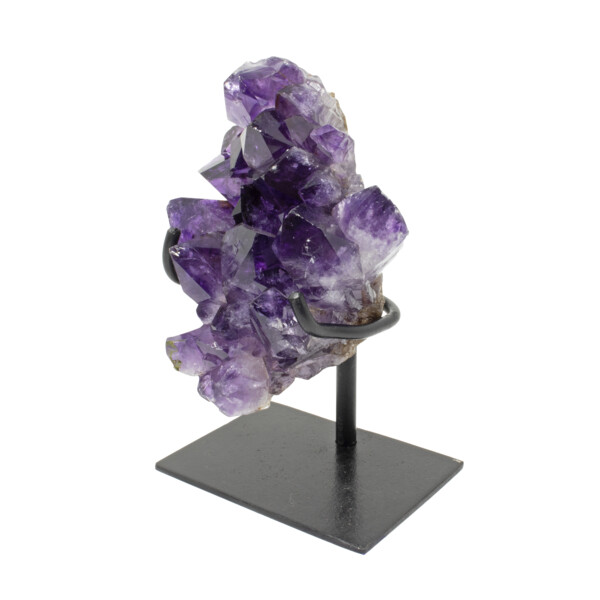 Closeup photo of Amethyst Crystal Cluster Plaque In A Fitted Stand - Small Green Inclusion