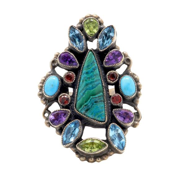 Closeup photo of Leo Feeney Chrysocolla Ring With Blue Topaz, Peridot, Sleeping Beauty Turquoise & Garnet Sz6
