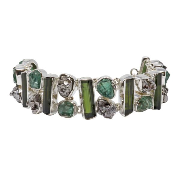 Closeup photo of Green Tourmaline Link Bracelet With Apatite & Campo De Cielo Meteorite