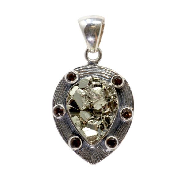 Closeup photo of Peruvian Pyrite Pendant With Smoky Quartz