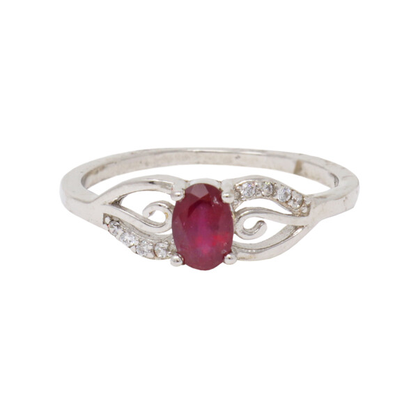 Closeup photo of Ruby Ring With Czs Size 7