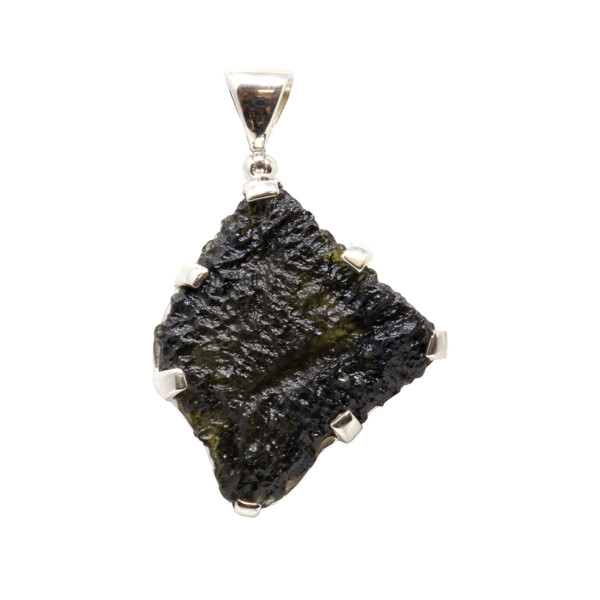 Closeup photo of Moldavite Pendant - Freeform With Natural Ruggedness & Divot With Extremely Dark Olive Green Hue & Silver Bezel - Prong Set
