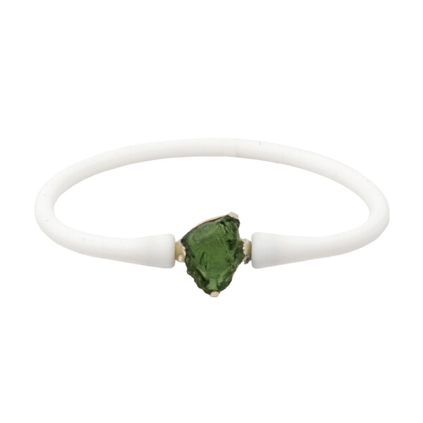 Closeup photo of Moldavite Bracelet With White Silicone Band - Cambered Freeform With Semi-translucent Vibrant Green Hue With Silver Prong Set Bezel