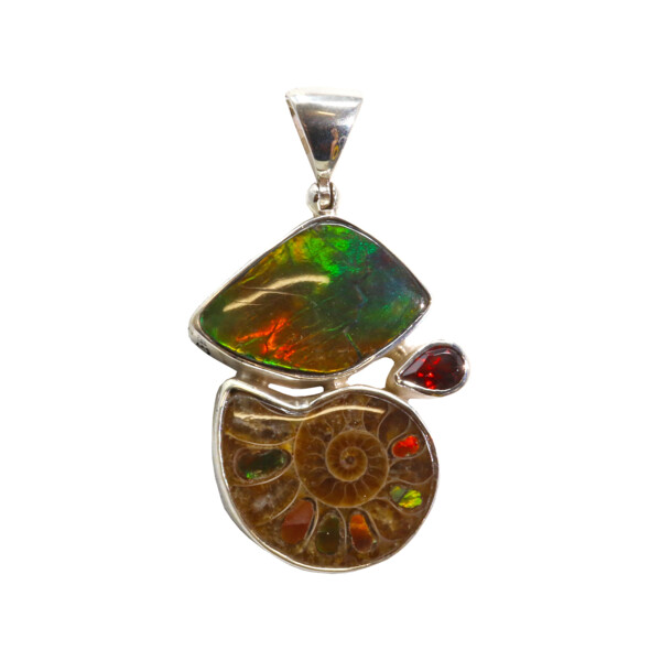 Closeup photo of Ammonite Pendant With Ammolite Inlay & Freeform Ammolite Cabochon With Faceted Garnet Pear & Silver Bezels