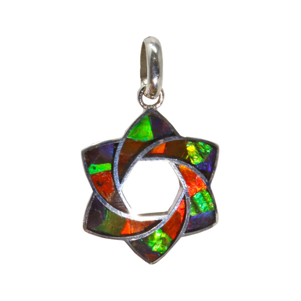 Closeup photo of Ammolite Swirling Star Of David Pendant With Hexagon In Center & Silver Bezel