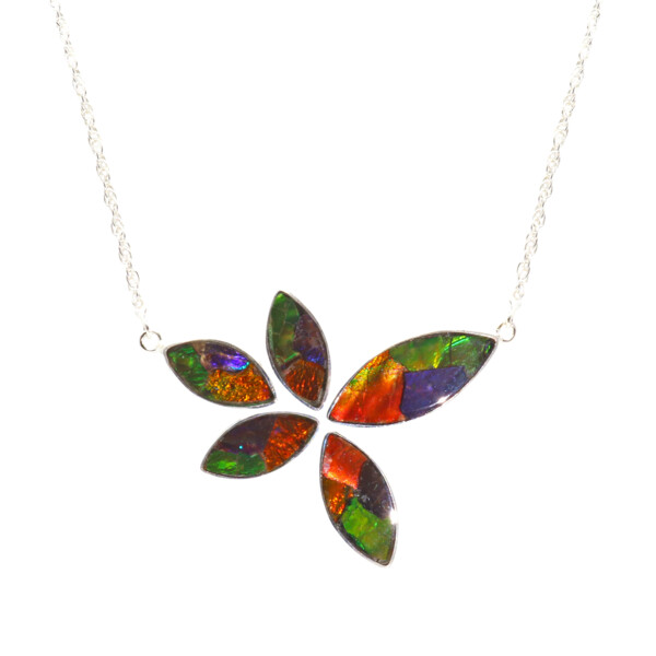 """Closeup photo of Ammolite Necklace - 5 Sharp Oval Cabochons In Impressionistic Layout With Silver Bezels & 18"""" Rolo Chain"""
