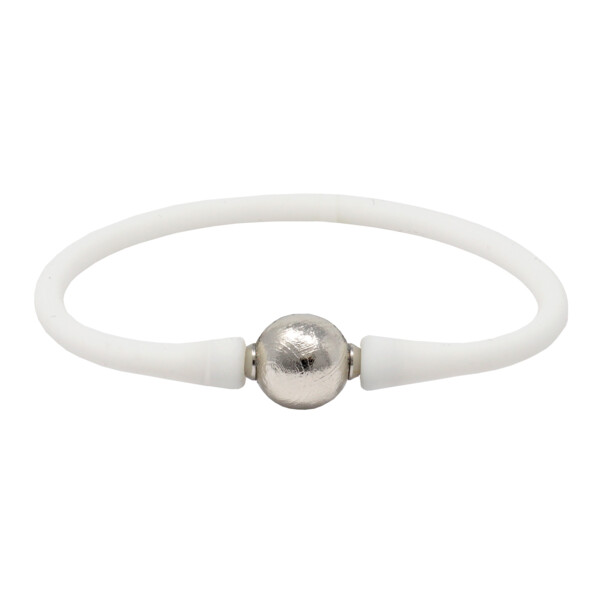 Closeup photo of Gibeon Meteorite Bracelet - Sphere With White Silicone Band