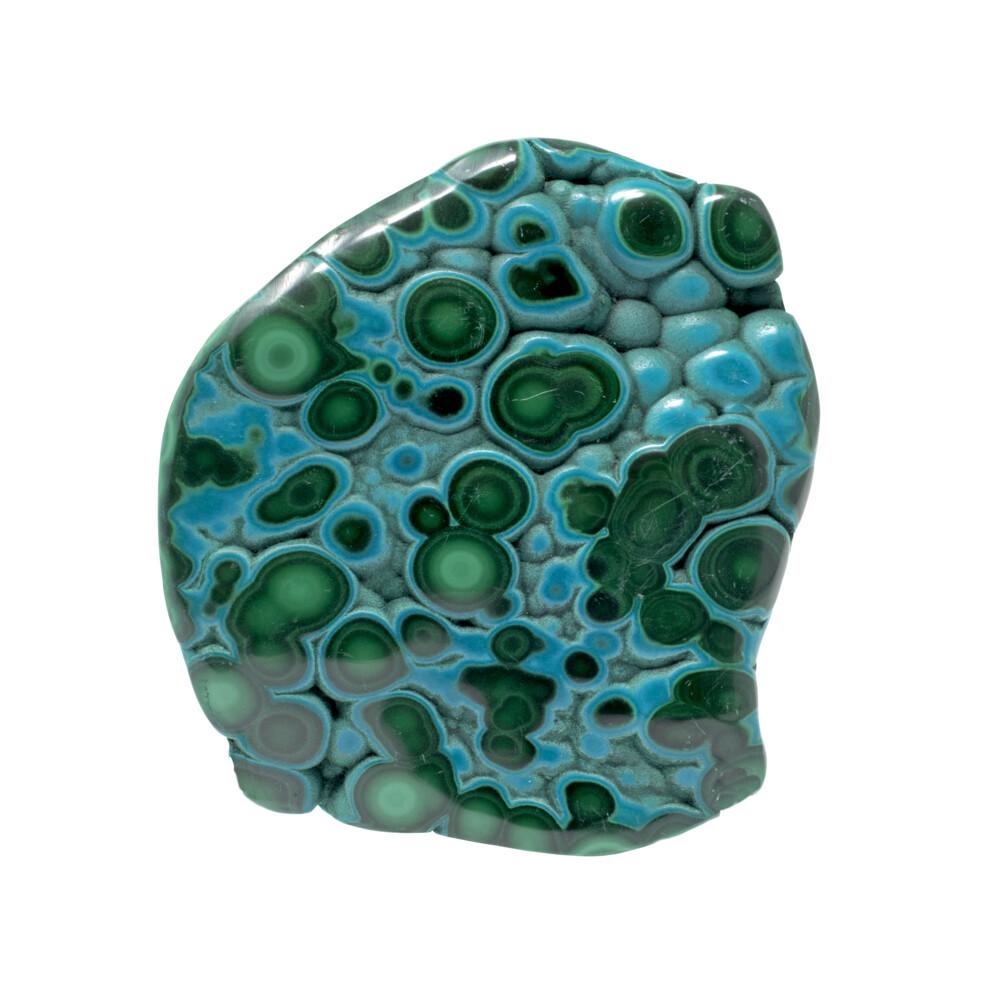 Chrysocolla Malachite Freeform Polished - Bubbly Texture With Prominent Eyes