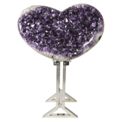 Closeup photo of Amethyst Heart on Custom Stand