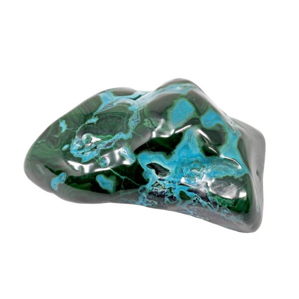 Closeup photo of Chrysocolla Malachite Freeform Polished