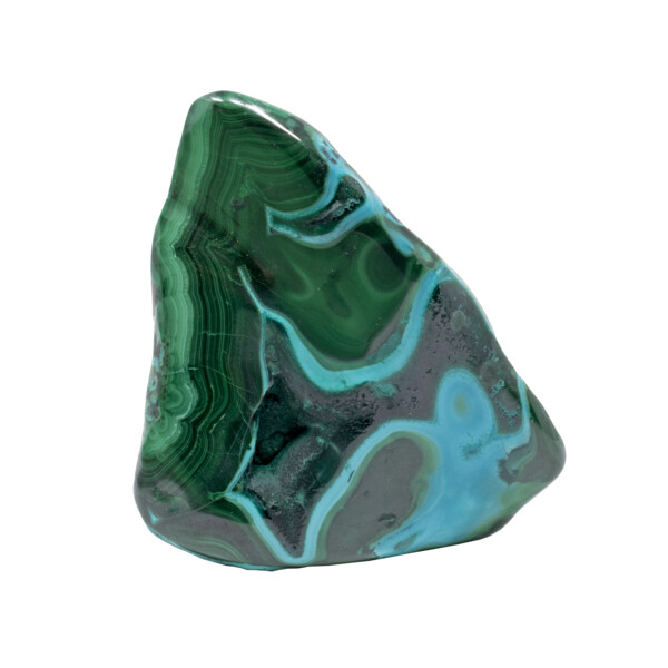 """Closeup photo of Chrysocolla Malachite Freeform Polished - Blue """"River"""" Crossing Back And Forth Across The Face"""