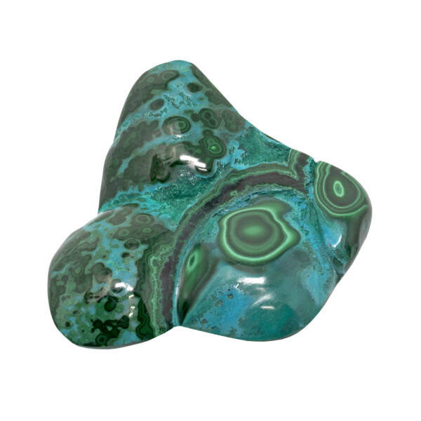 Closeup photo of Chrysocolla Malachite Freeform Polished - 3 Indentations On The Face With Green Banding