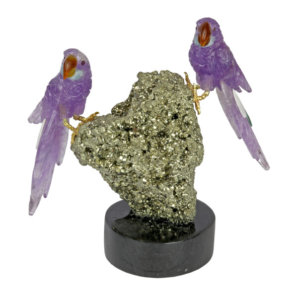 Closeup photo of Amethyst Macaws With Variscite Tail Feathers On Pyrite Base