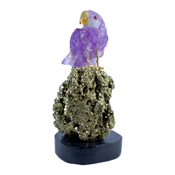Closeup photo of Amethyst Macaw On Pyrite Cluster Base