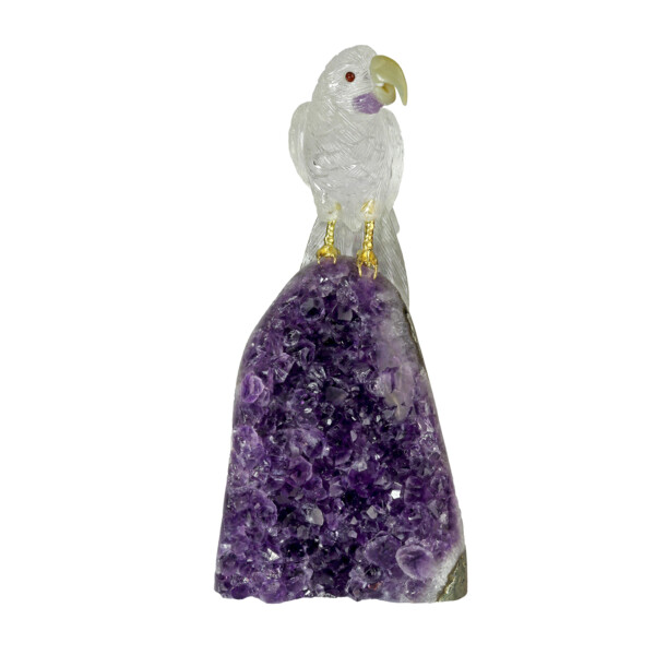 Closeup photo of Quartz Macaw Atop Polished Amethyst