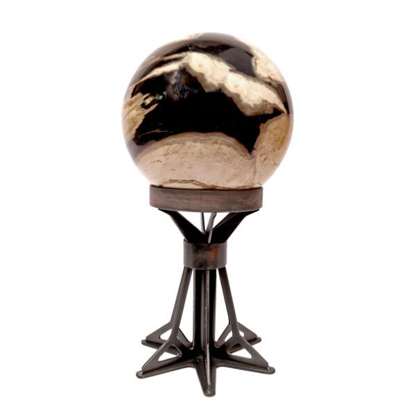 Closeup photo of Indonesian Petrified Wood Sphere On A Custom Star Frame Stand