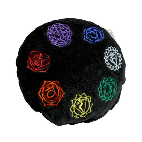 Closeup photo of Black Velvet Embroidered Round Cushion - Chakra