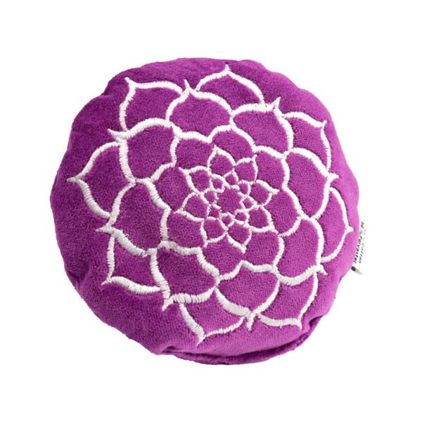 Closeup photo of Purple Velvet Embroidered Round Cushion - Lotus