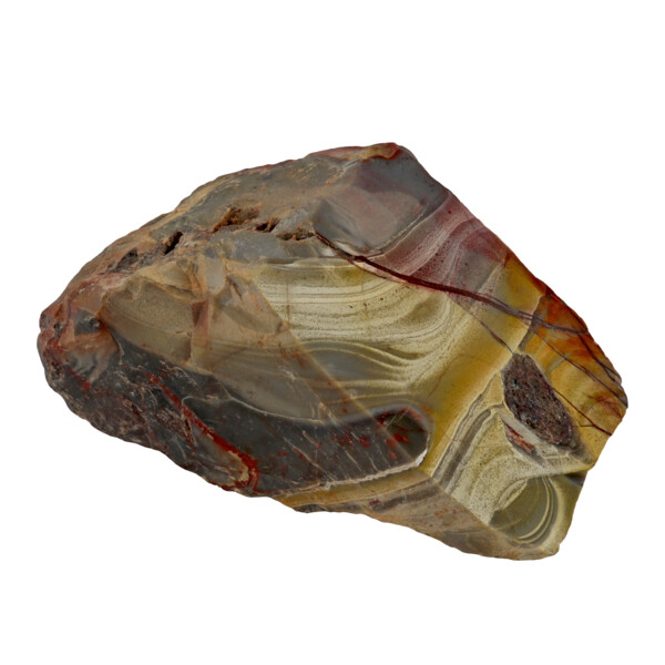 Closeup photo of Mookaite Jasper End Cut With Polished Face